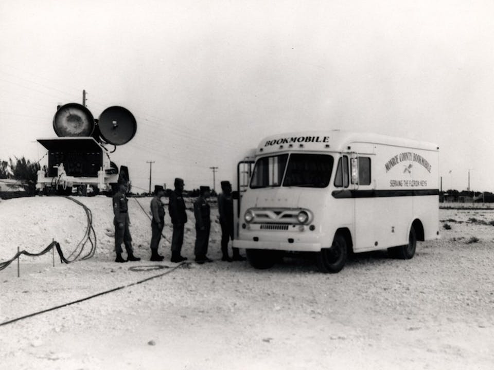 Monroe County Library Bookmobile at Charlie Battery of the Sixth Missile Battalion on March 1, 1964. U.S. Navy photo.