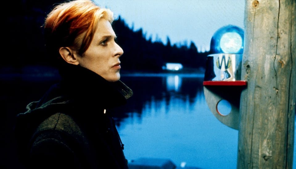 David Bowie in Nicolas Roeg's  THE MAN WHO FELL TO EARTH (1976). Courtesy Photofest.