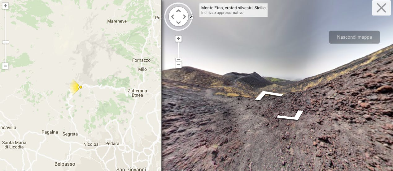 Ora puoi fare un tour virtuale dell'Etna su Google Street View