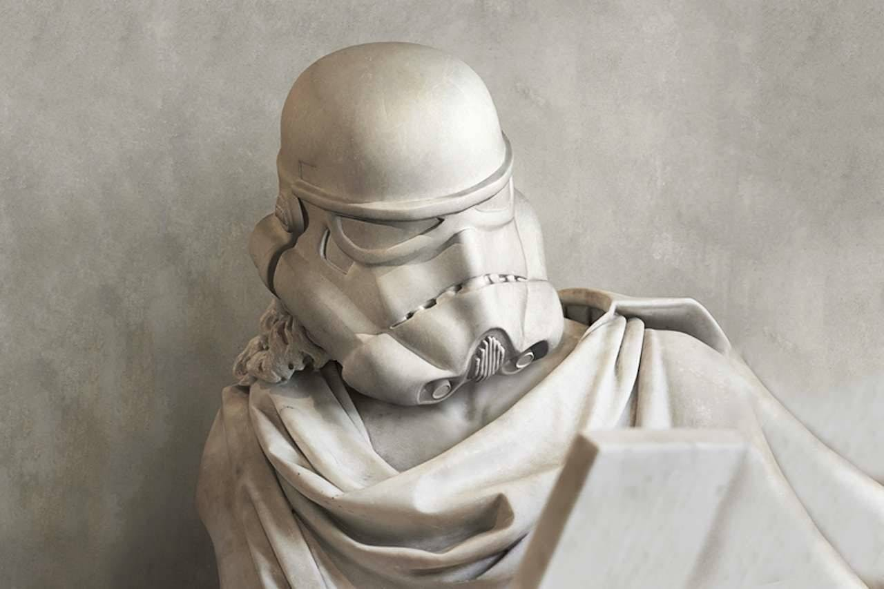 Questo artista ha modificato le statue dell'antica Grecia con i volti di Star Wars