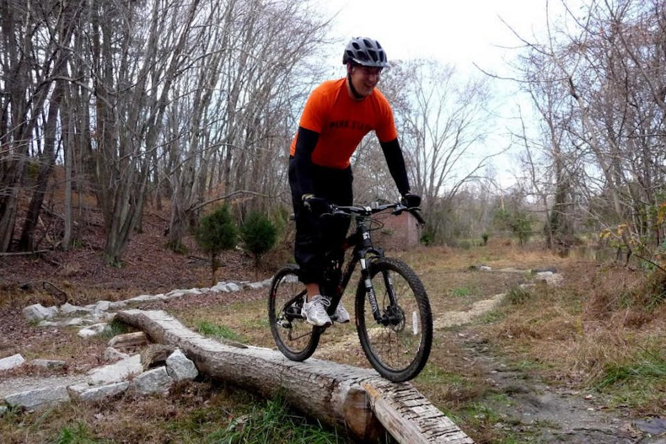 Riding the skills section of the Slaughterhouse Loop trail