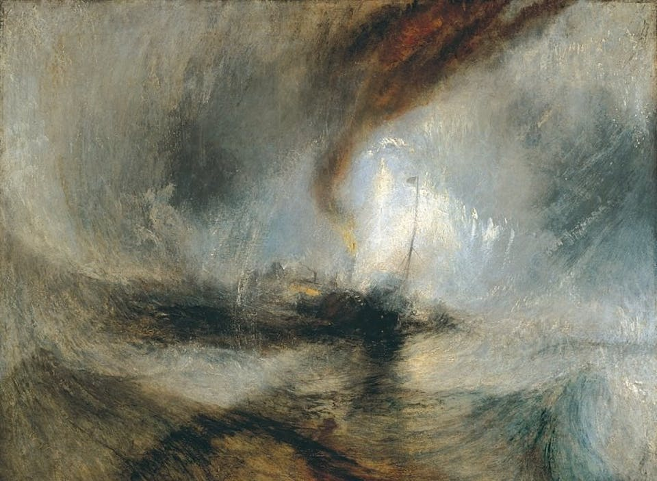 """Tempête de Neige"" exposé en 1842 de J.W. Turner .Snow Storm - Steam-Boat off a Harbour's Mouth making Signals in Shallow Water, and going by the Lead"